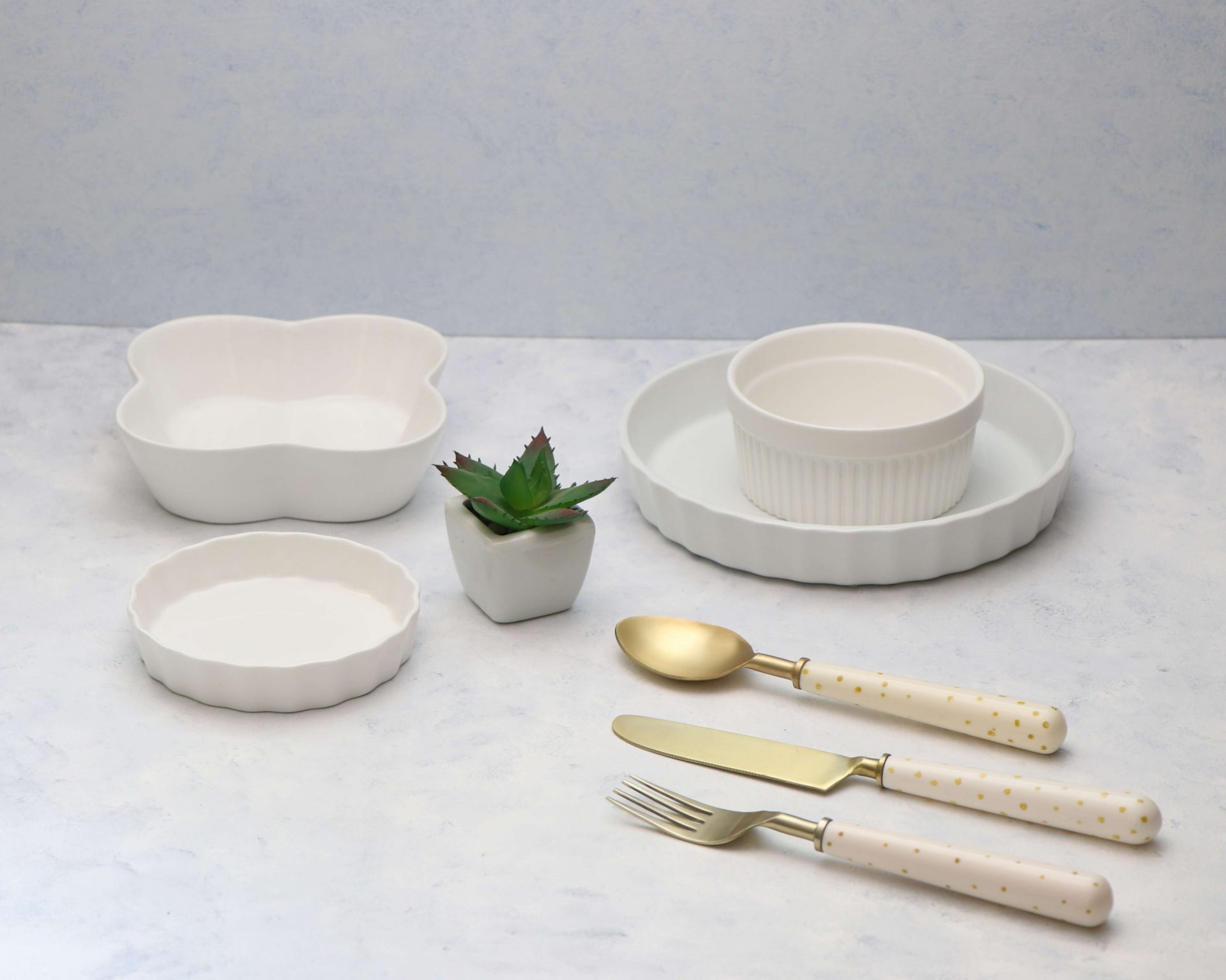 Rental White Props and Gold Cutlery on Rent - Pune Prop Store