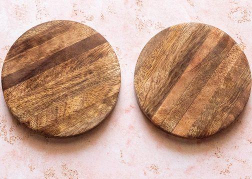 Wooden coasters- Set of 2- Log inspired design