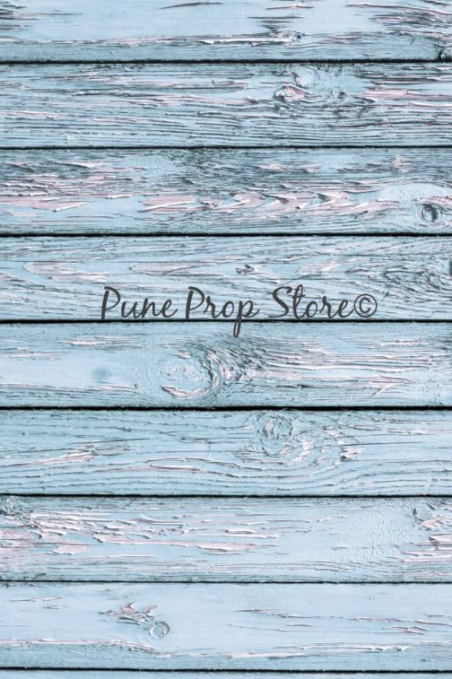 Powder Blue Wood Printed Backdrop For Photography- Pune Prop Store