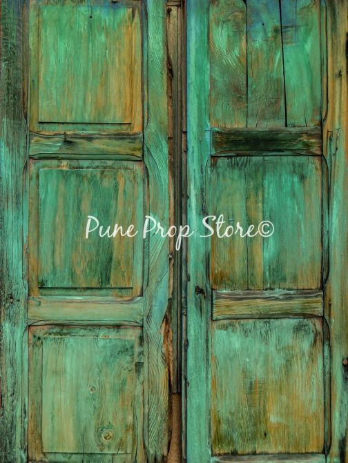 Rustic Green Window Printed Backdrop For Photography- Pune Prop Store